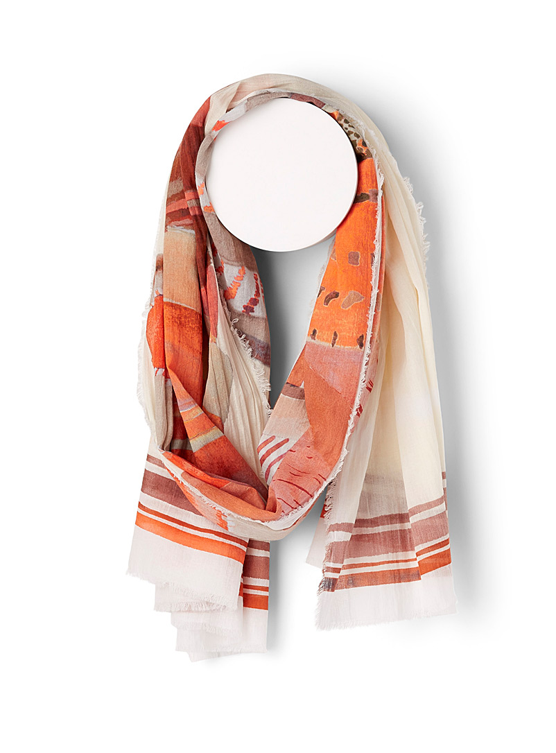 Moment by moment Patterned Orange Pure cotton striped scarf for women