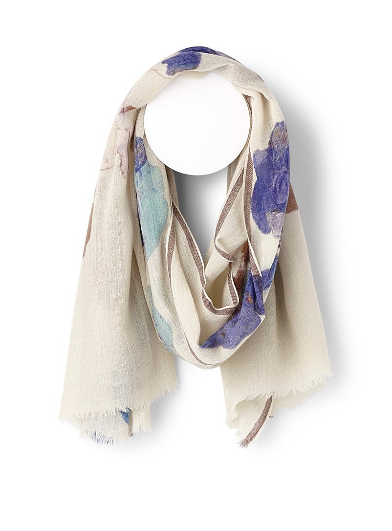 Watercolour floral scarf - Light scarves - Patterned Blue