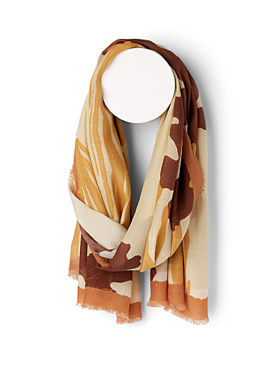 Moment by moment Patterned Brown Seaweed scarf for women