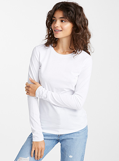 Organic cotton long-sleeve crew-neck tee