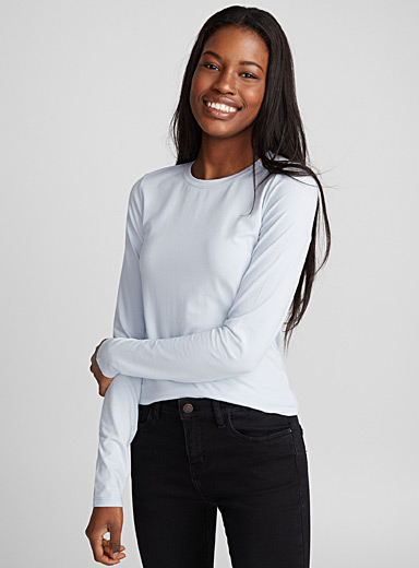 Long-sleeve organic cotton crew-neck tee