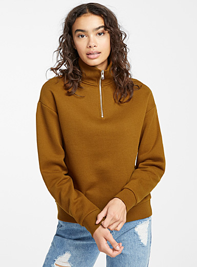 Twik Dark Brown Half-zip high-neck sweatshirt for women