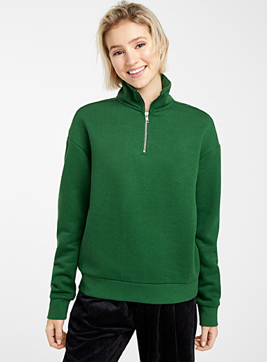 Half-zip high-neck sweatshirt