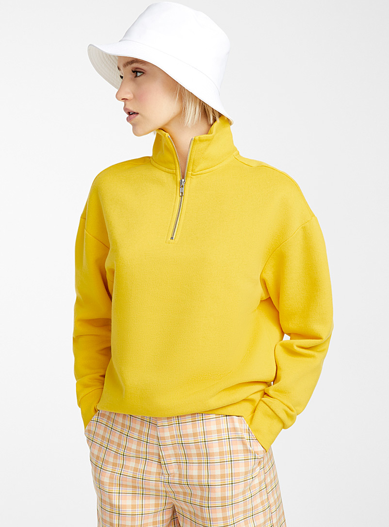 Twik Medium Yellow Half-zip high-neck sweatshirt for women