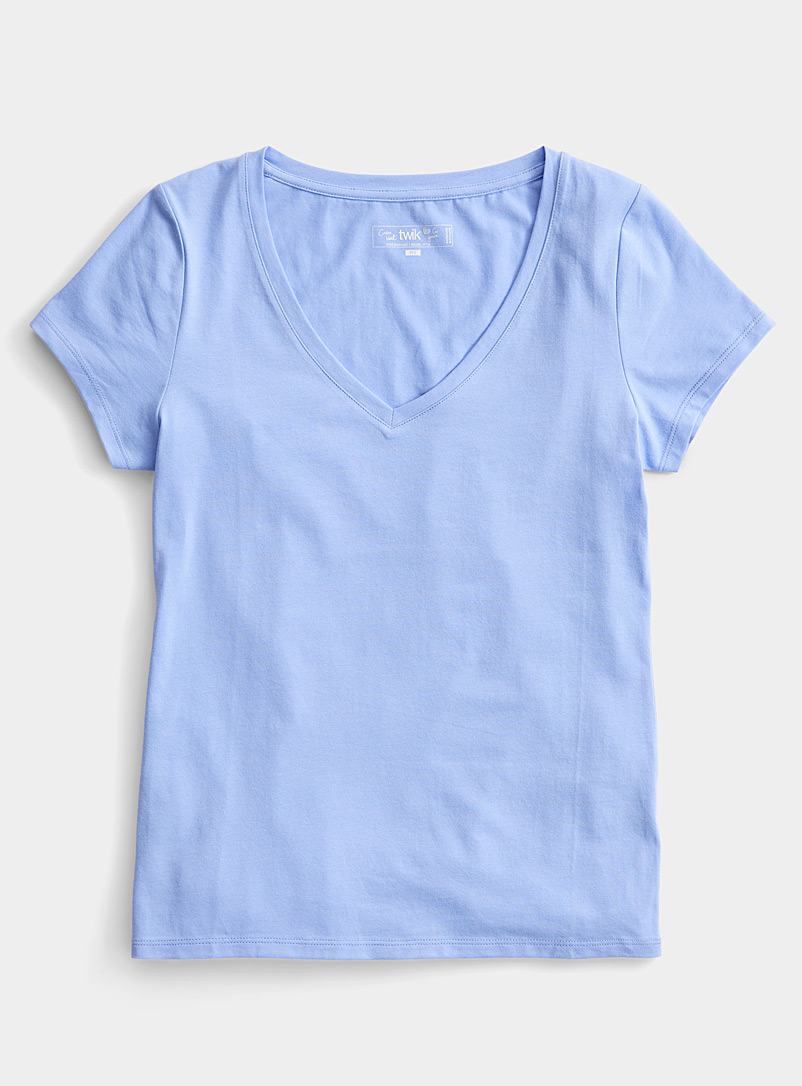 Twik Slate Blue Solid organic cotton V-neck tee for women
