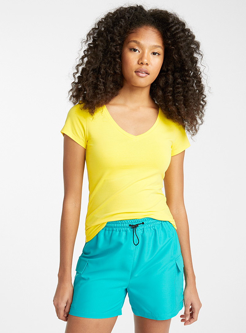 Twik Bright Yellow Solid organic cotton V-neck tee for women