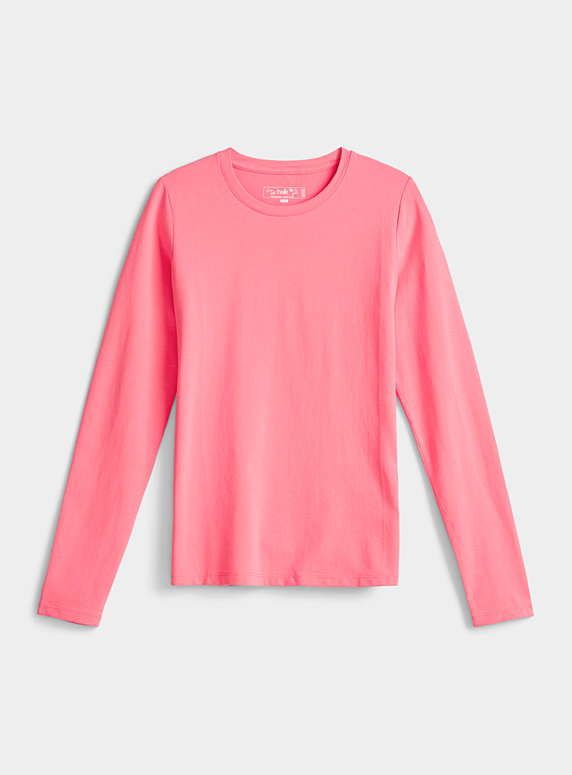 Twik Medium Pink Long-sleeve organic cotton crew-neck tee for women