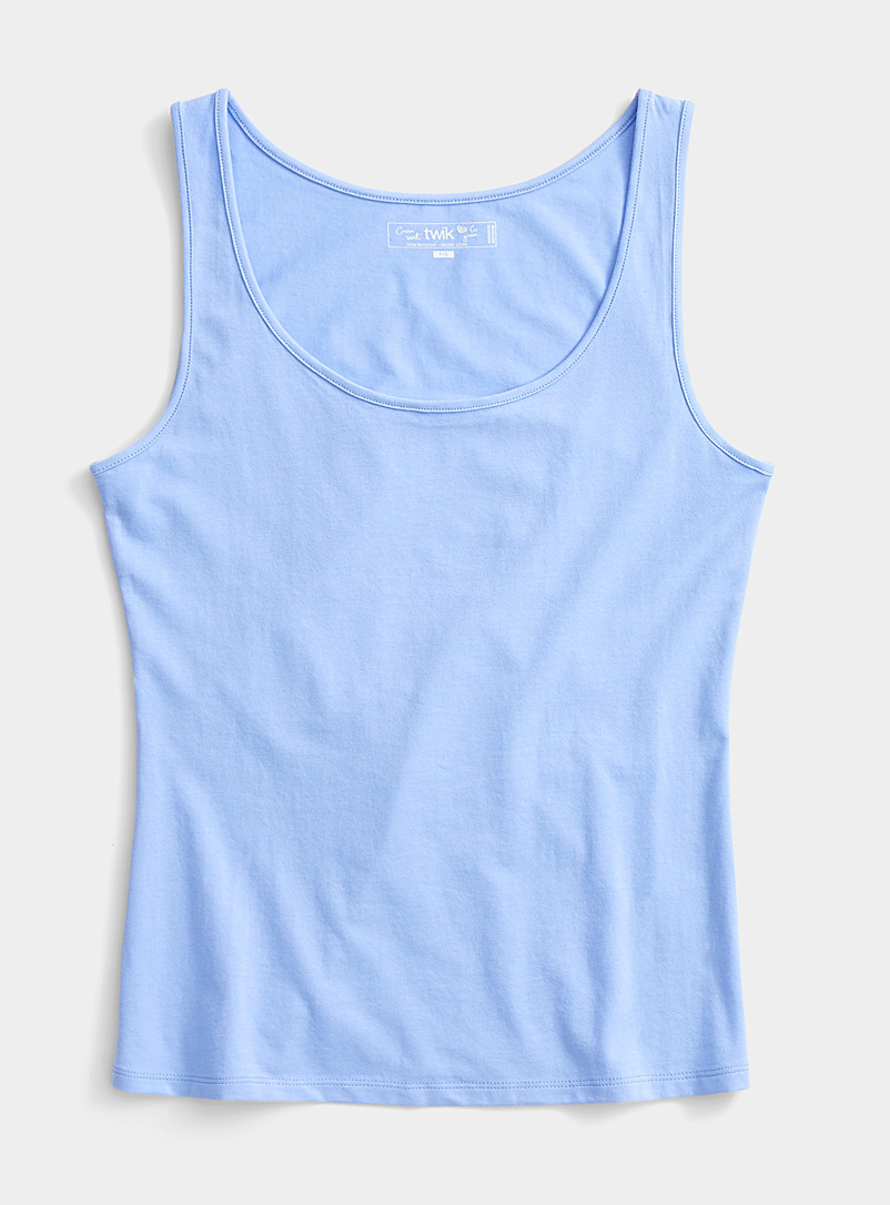 Twik Slate Blue Solid organic cotton round neck cami for women