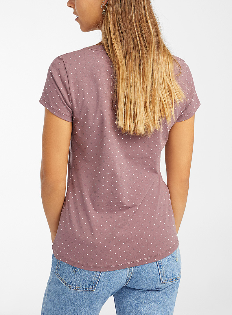 Twik Dusky Pink Organic cotton printed V-neck tee for women