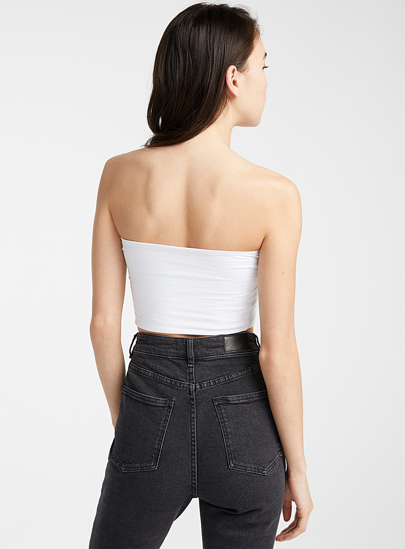 Twik White Organic cotton solid tube top for women