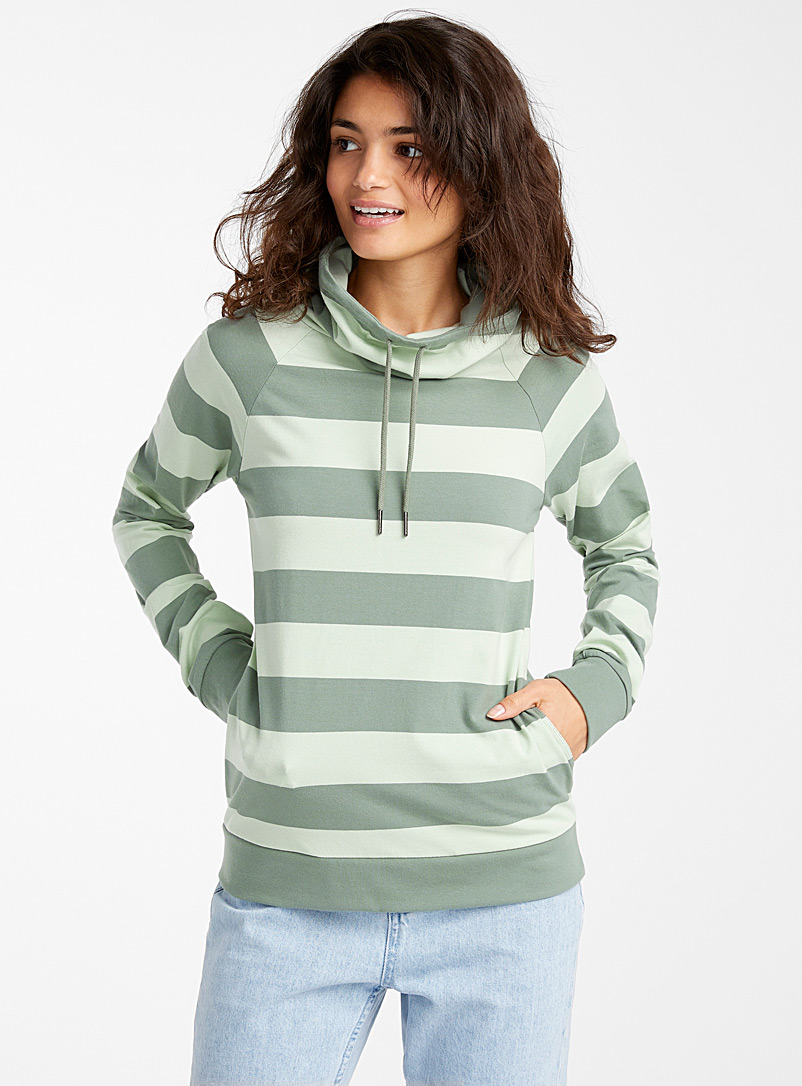 Twik Green Striped oversized-collar sweatshirt for women