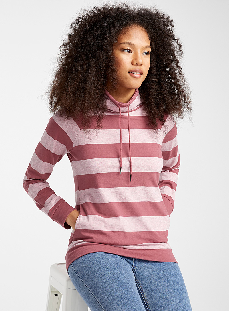 Striped oversized-collar sweatshirt - Sweatshirts & Hoodies - Patterned Red