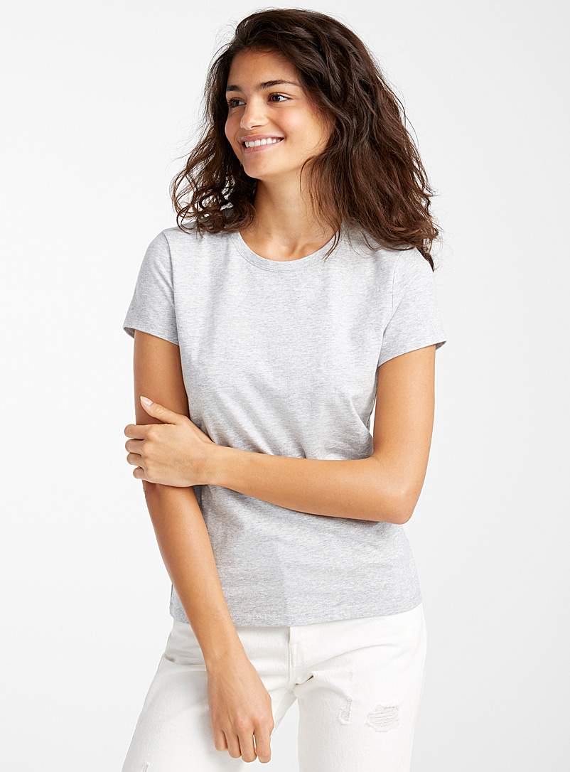 Twik Light Grey Organic cotton crew-neck tee for women