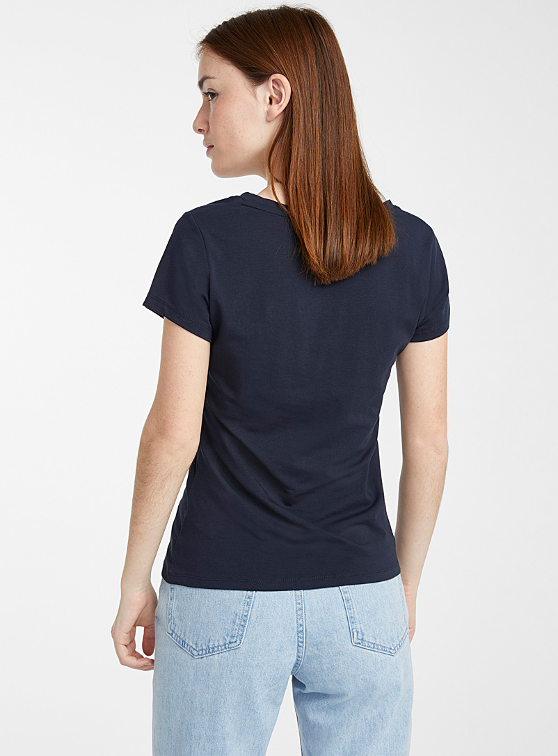 Twik Light Grey Organic cotton V-neck tee for women