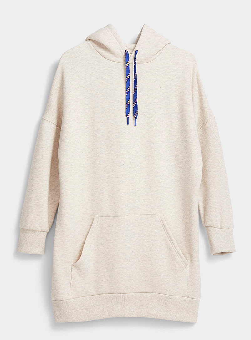 Twik Cream Beige Oversized organic cotton hoodie dress for women