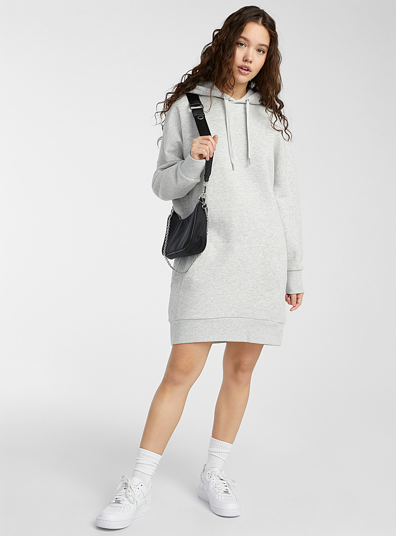 Twik Grey Oversized organic cotton hoodie dress for women