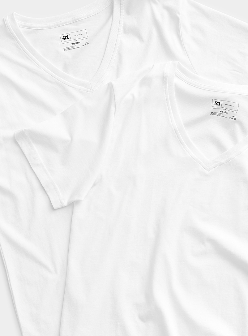 Le 31 White Organic cotton V-neck lounge T-shirt  2-pack for men