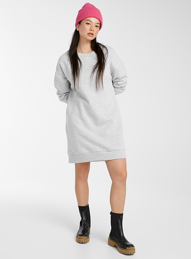 Twik Light Grey Organic cotton sweatshirt dress for women
