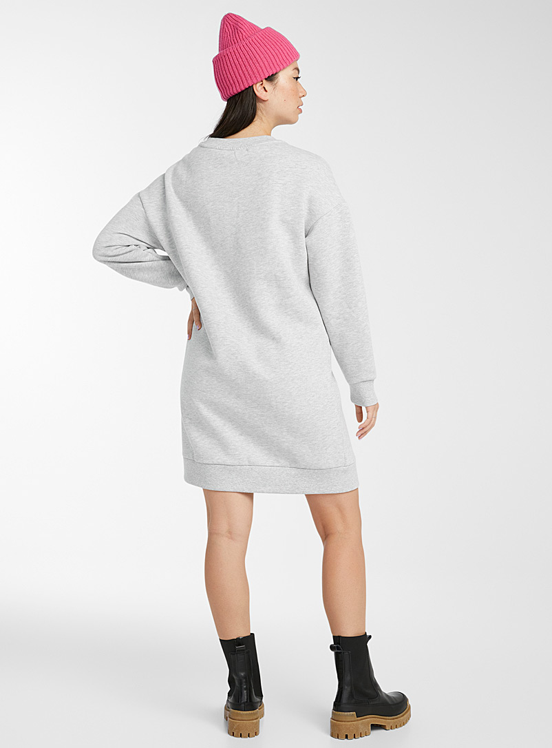 Twik Black Organic cotton sweatshirt dress for women