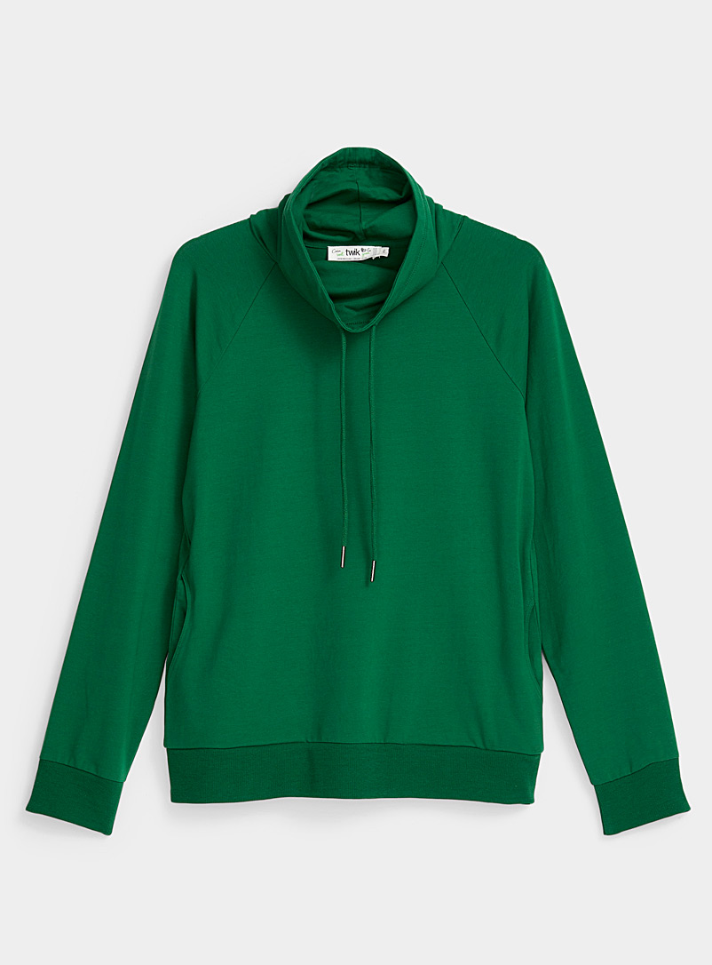 Twik Green Basic drape neck sweatshirt for women