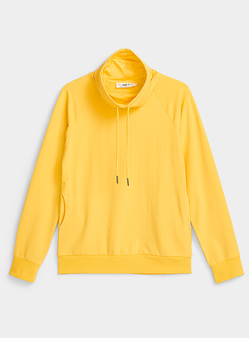 Twik Golden Yellow Basic drape neck sweatshirt for women