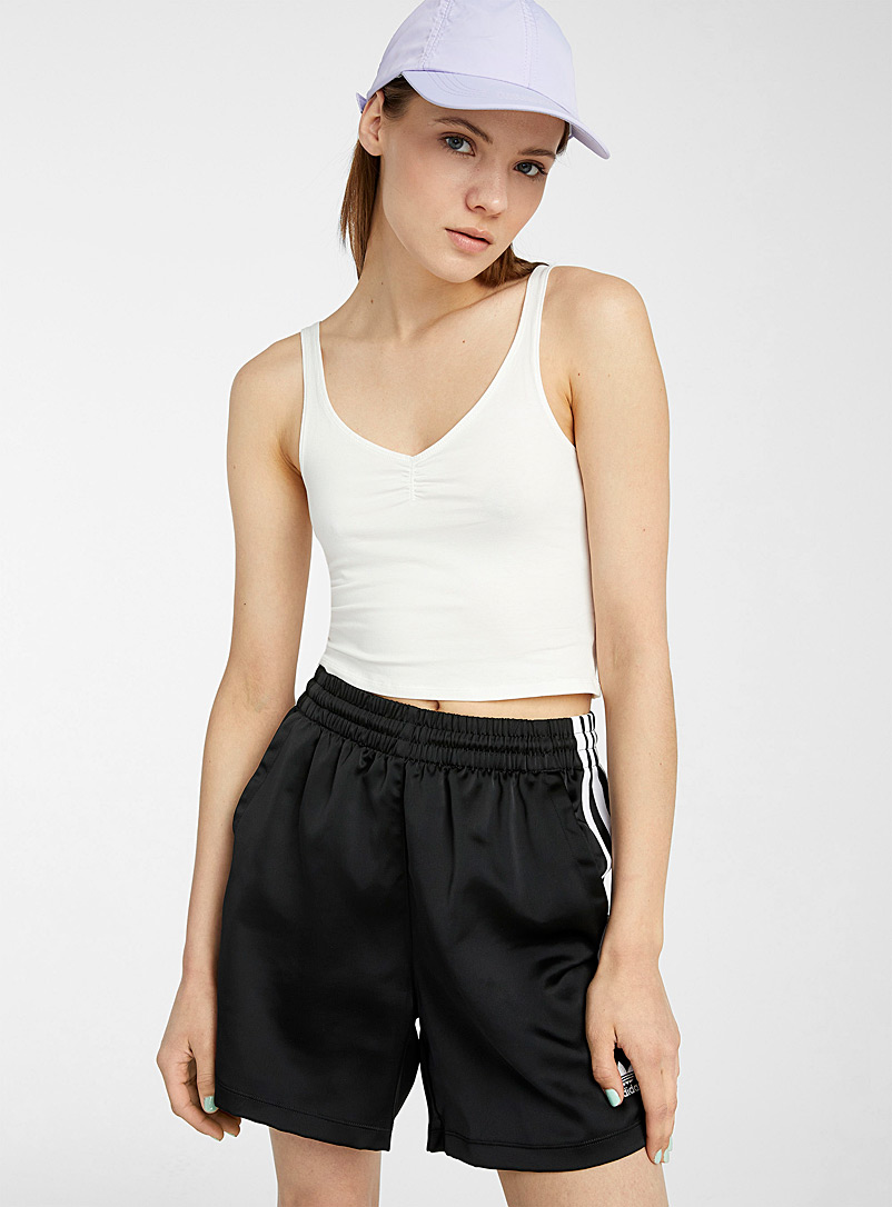 Twik White Ultra-cropped gathered cami for women