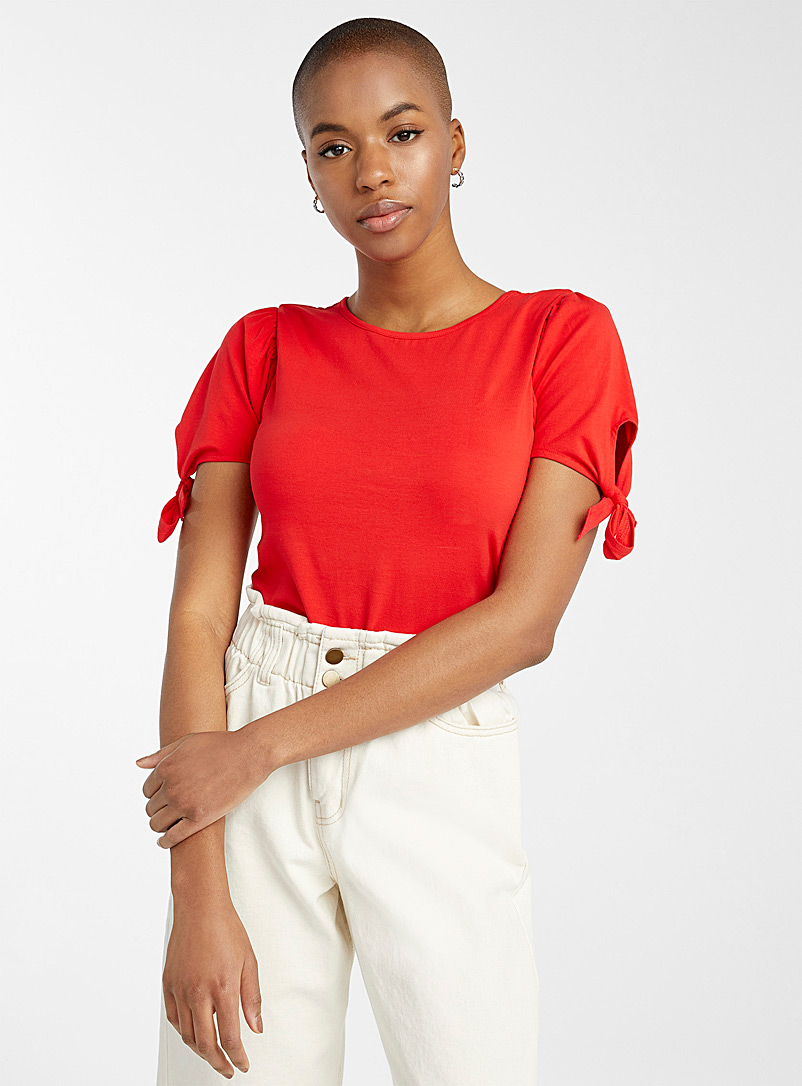Twik Red Bouclé sleeve tee for women