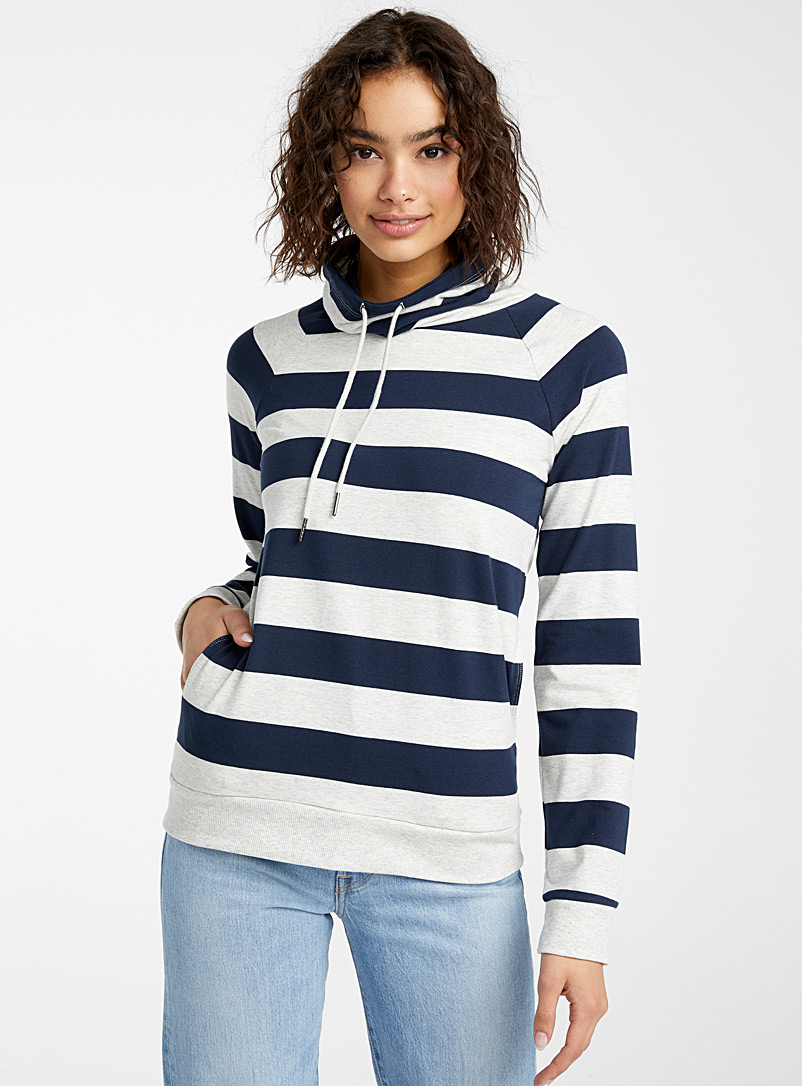 Twik Marine Blue Mega stripe tunnel-collar sweatshirt for women
