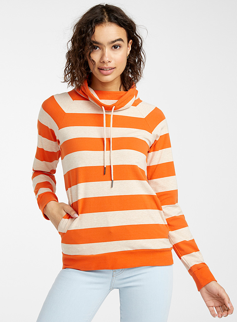 Twik Orange Mega stripe tunnel-collar sweatshirt for women