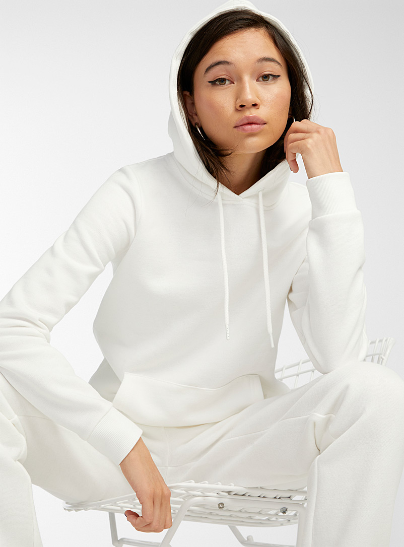 Twik White Basic hoodie for women
