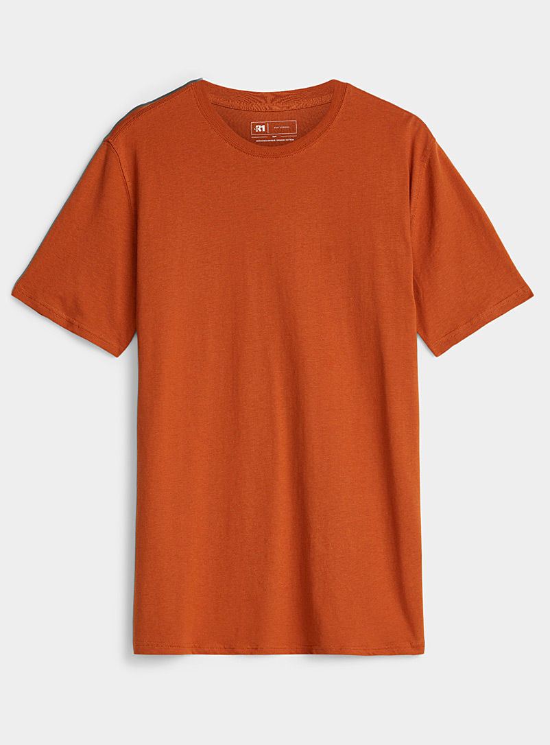 Le 31 Copper Coloured organic cotton T-shirt for men
