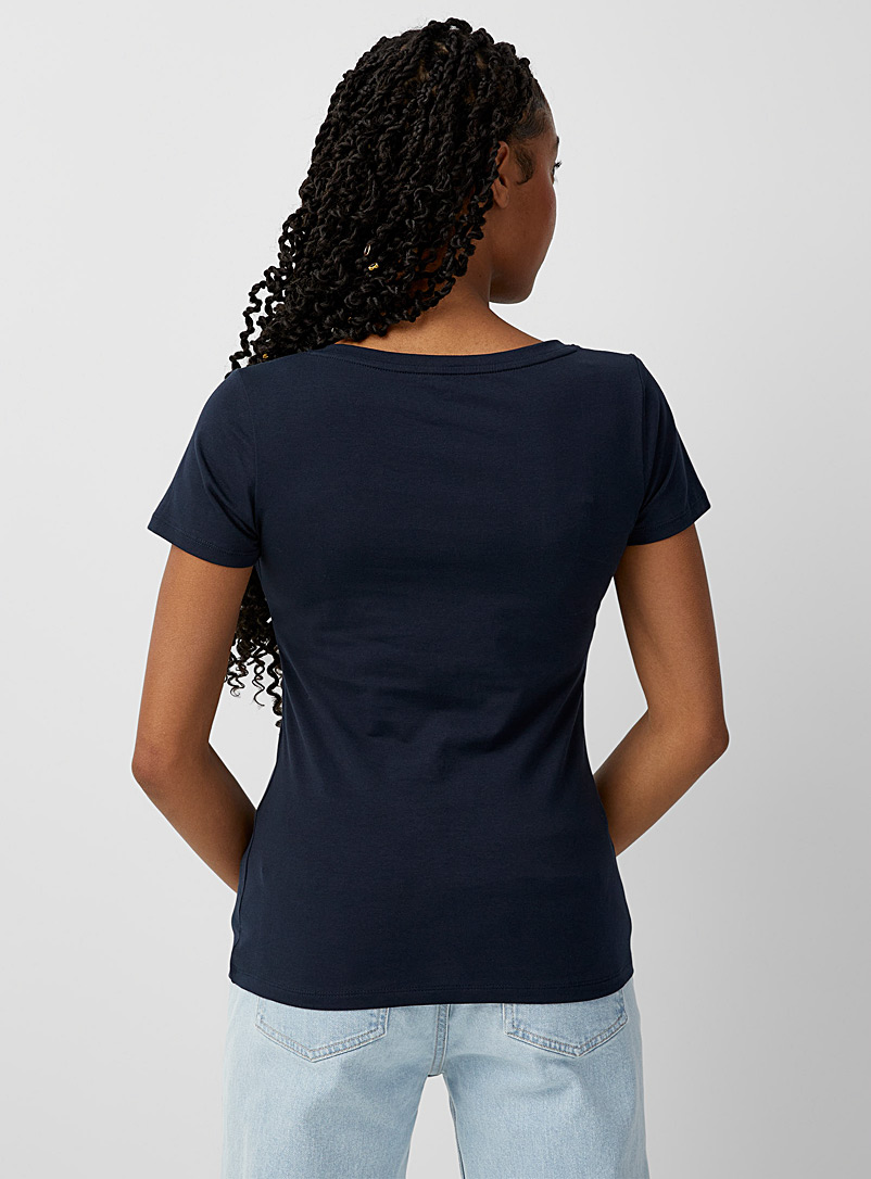 Twik Grey Organic cotton basic V-neck tee for women
