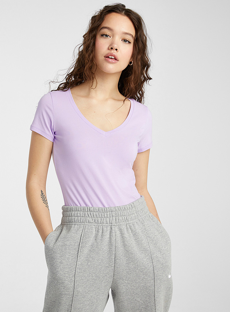 Twik Purple Organic cotton basic V-neck tee for women