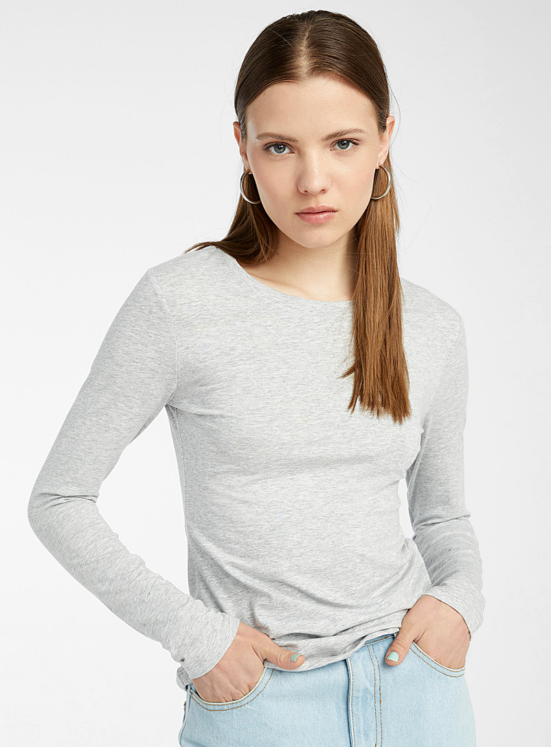 Twik Grey Colourful organic cotton crew-neck tee for women