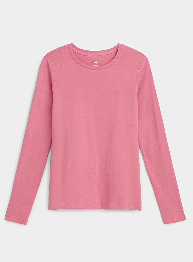 Twik Pink Colourful organic cotton crew-neck tee for women