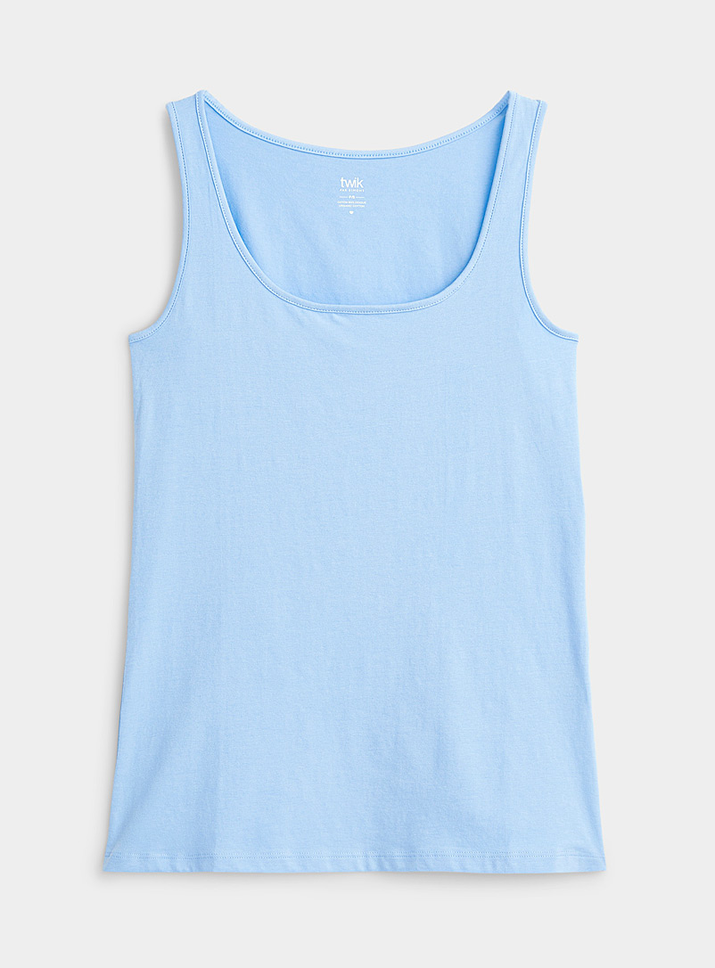Twik Baby Blue Organic cotton U-neck cami for women