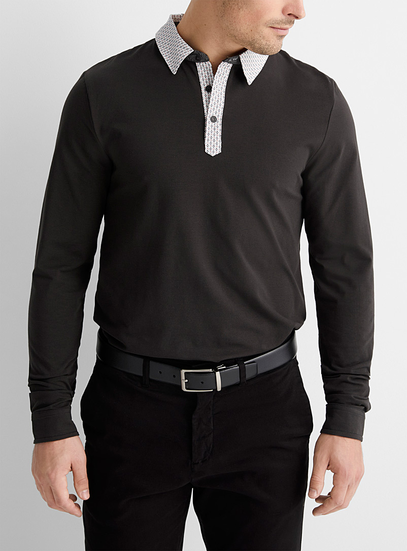 Le 31 Toast Patterned poplin-collar polo for men