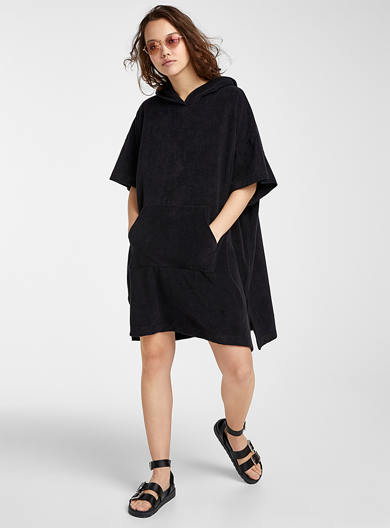 Simons Black Organic cotton terry cloth bath tunic for women