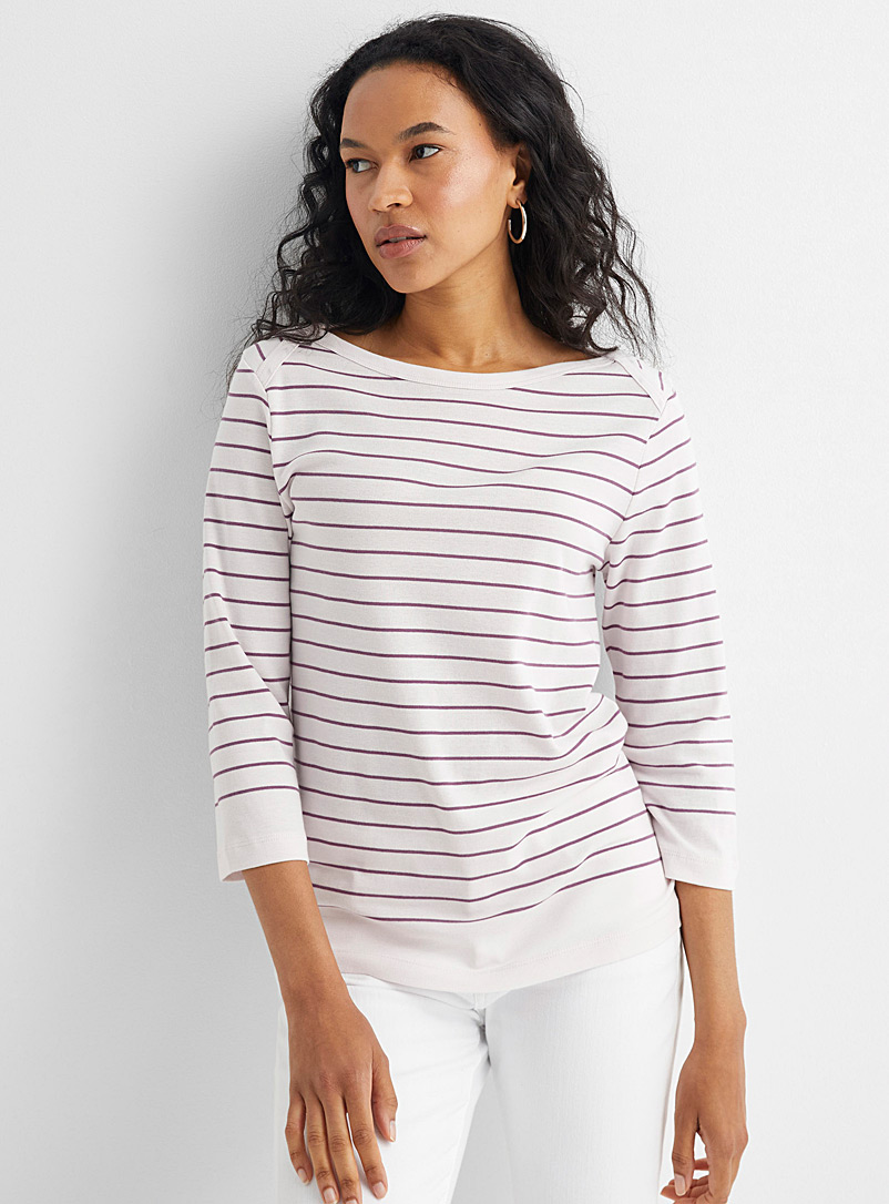 Contemporaine Ivory White Organic cotton boatneck sailor tee for women