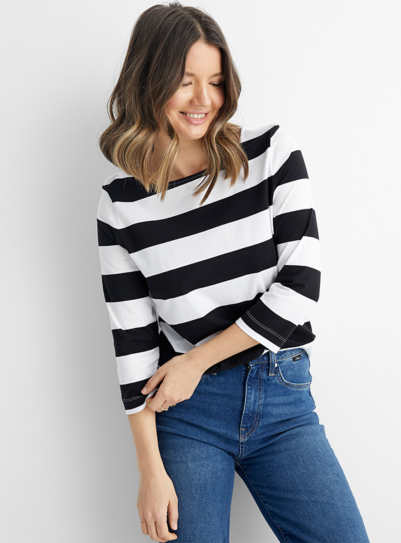 Contemporaine Black and White Rugby stripe organic cotton T-shirt for women