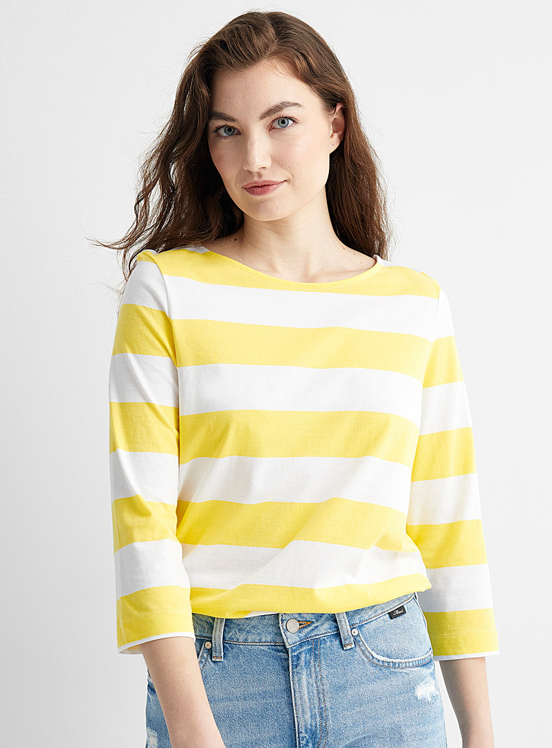 Contemporaine Patterned Yellow Rugby stripe organic cotton T-shirt for women