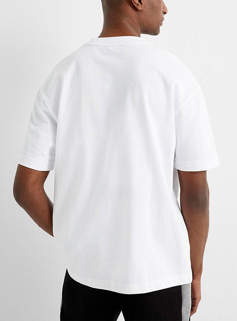 Le 31 White Organic cotton box-fit T-shirt for men