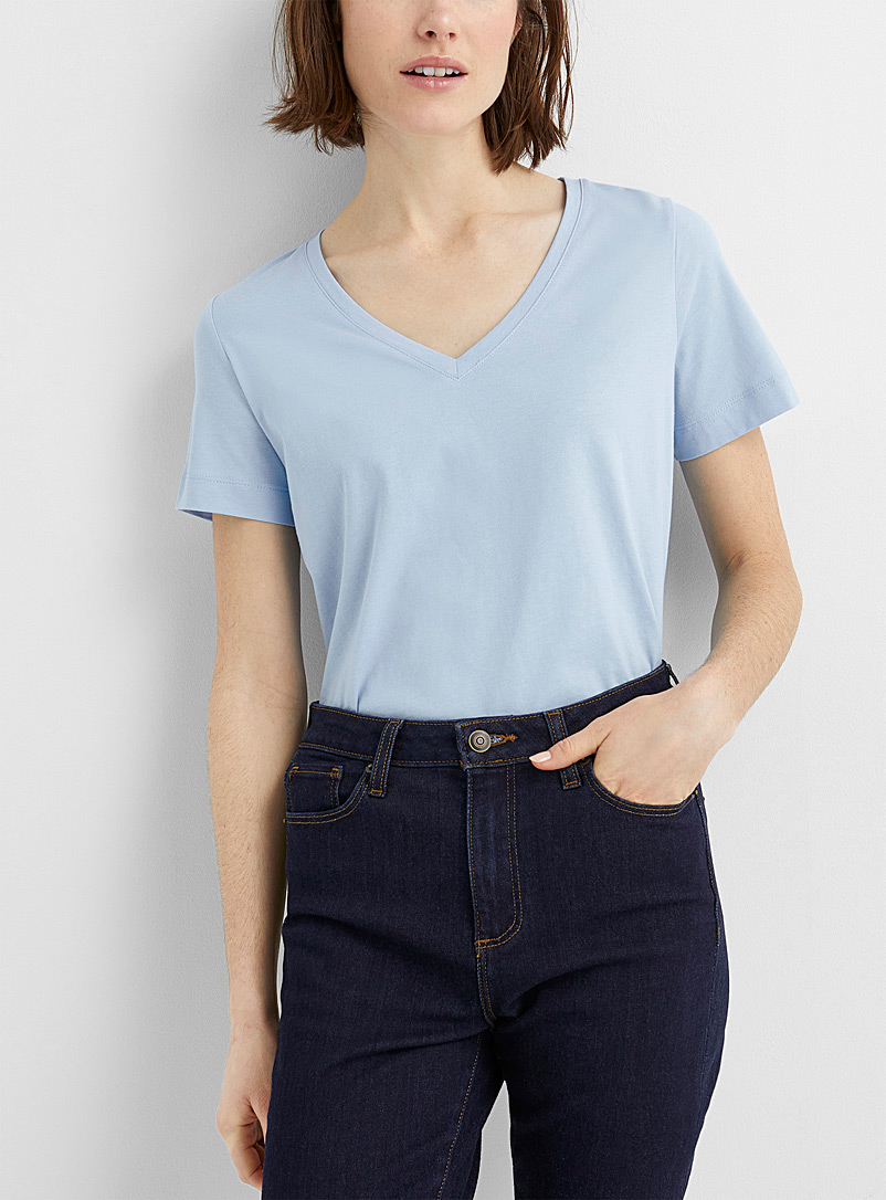 Contemporaine Baby Blue Organic cotton V-neck tee for women