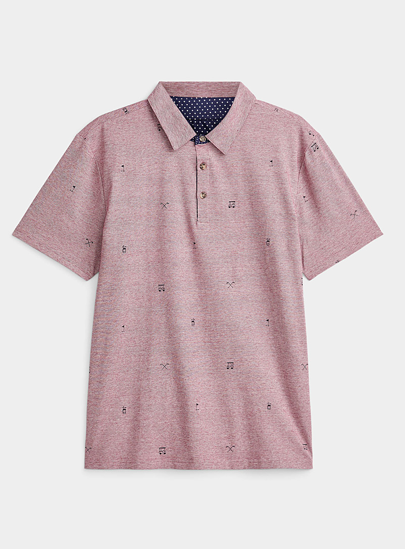 Le 31 Ruby Red Patterned micro-stripe polo for men