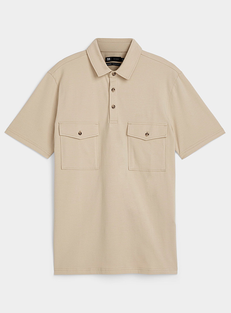 Le 31 Light Brown Organic cotton utility polo for men