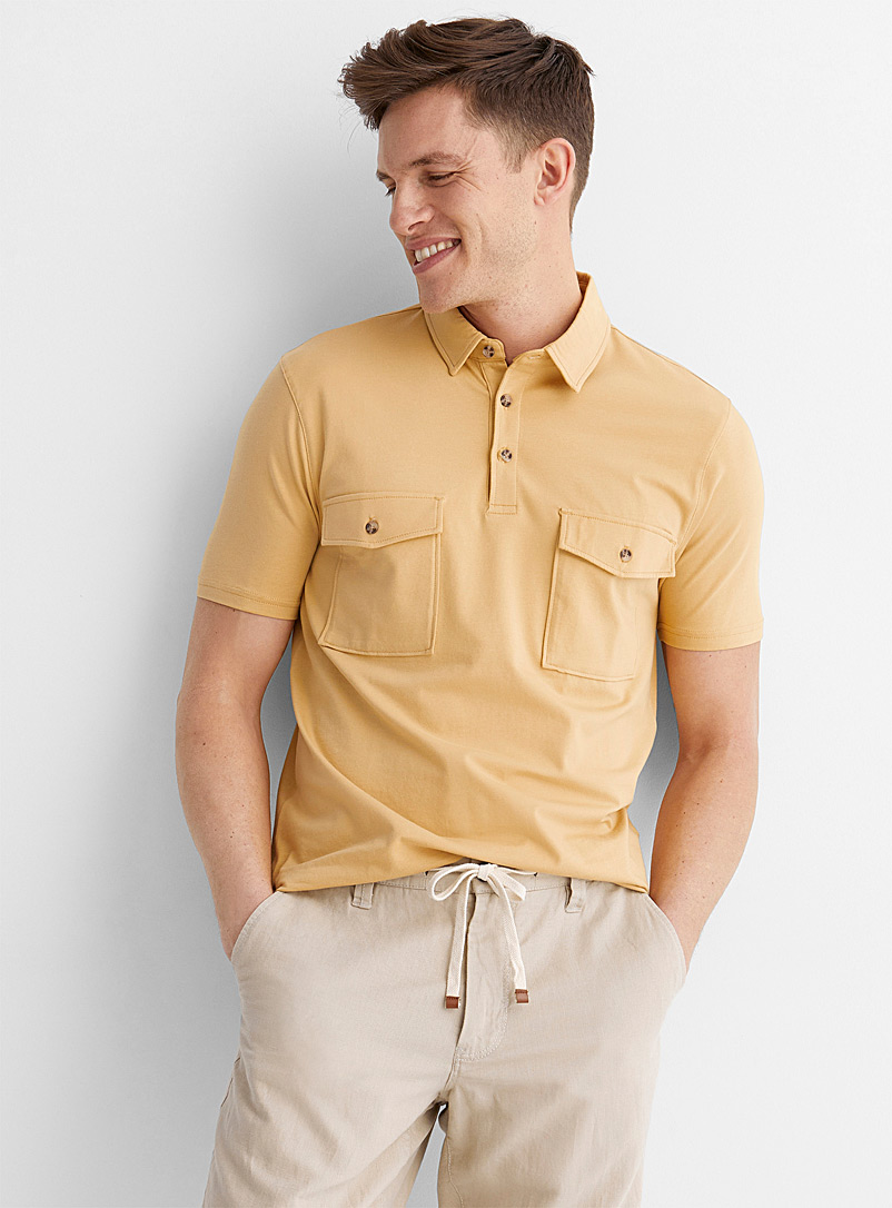 Le 31 Medium Yellow Organic cotton utility polo for men