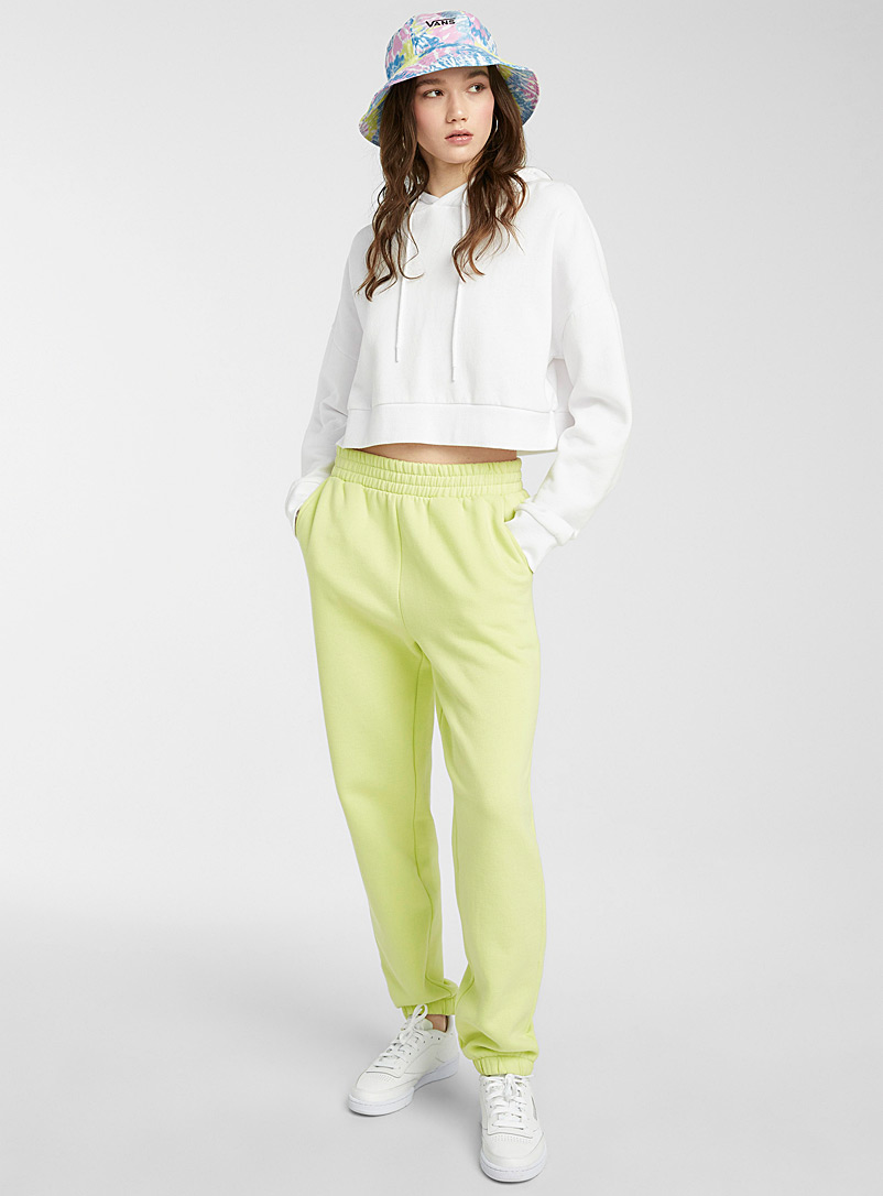 Twik Lime Green Organic cotton basic sweatpant for women