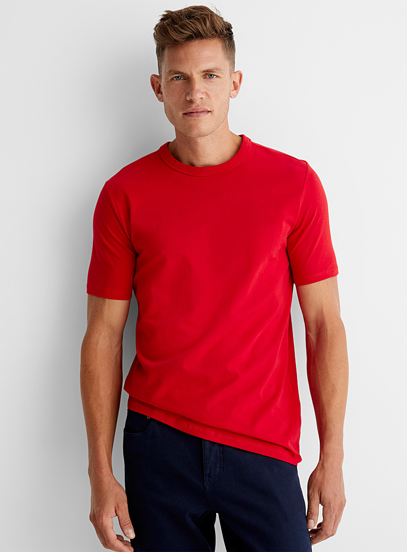 Le 31 Bright Red Stretch crew-neck T-shirt for men