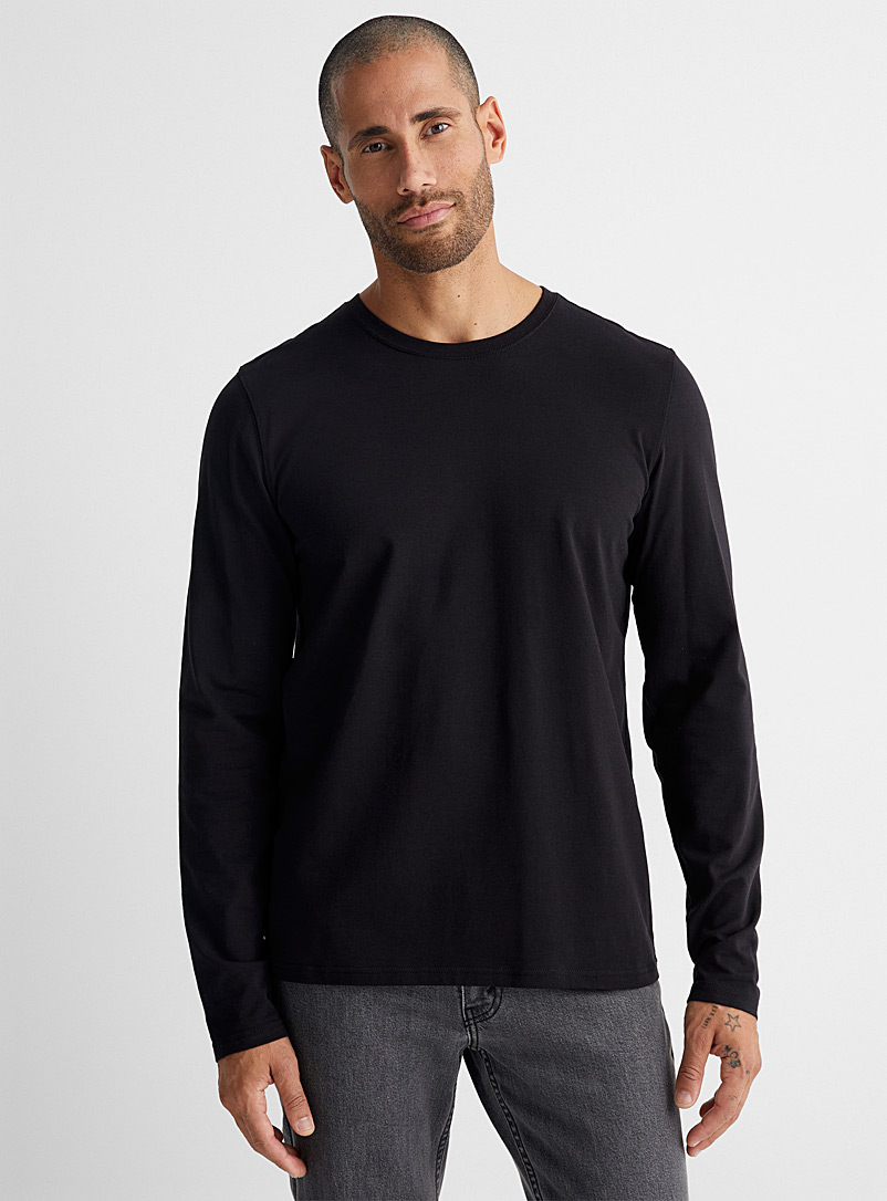 Le 31 Black Stretch organic cotton long-sleeve T-shirt for men