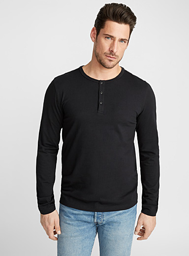 Le 31 Black Stretch organic cotton Henley T-shirt for men